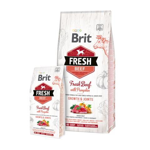 Brit Fresh Beef & Pumpkin Puppy Large Сухой корм для щенков крупных пород Говядина и тыква