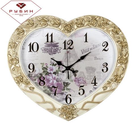 4134-001 (5) Часы настенные в форме сердца 41х35см, слоновая кость с золотом