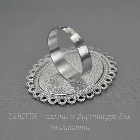 Основа для кольца с сеттингом для кабошона 25х19 мм (цвет - платина)