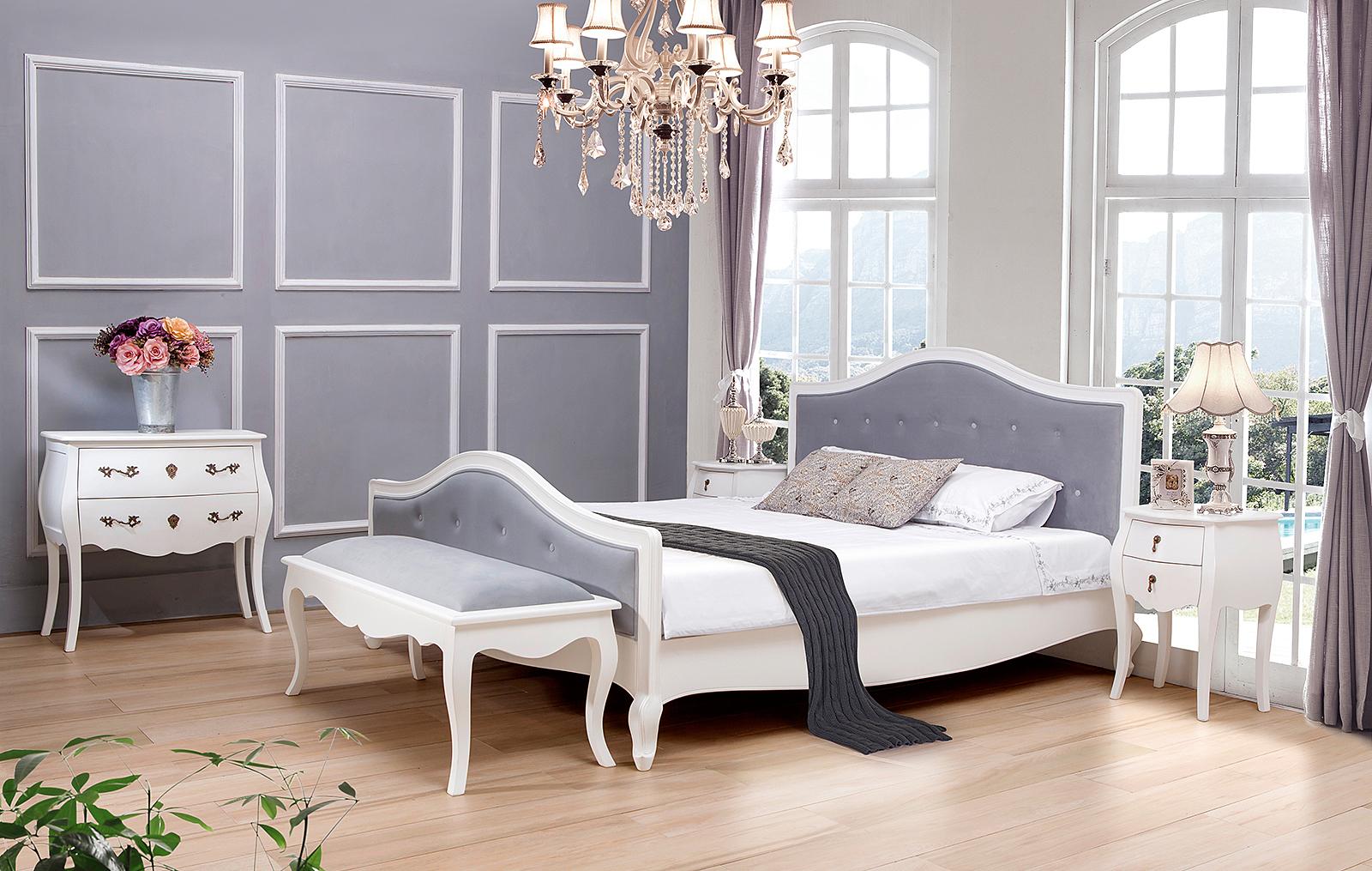 Спальня  ESF PLC, Тумбочка ESF PLC31 белая, Комод горизонтальный ESF PLC9 белый