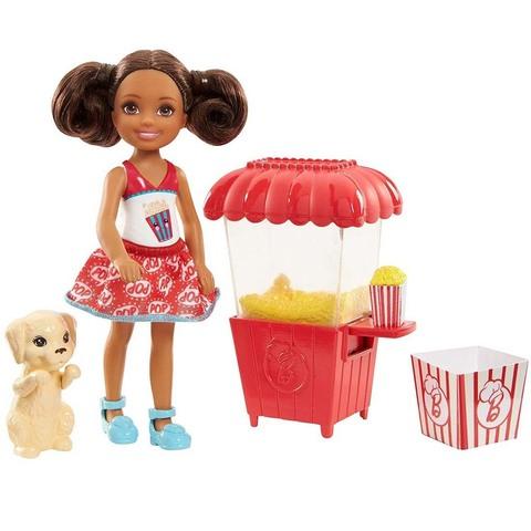 Барби Челси с щенком и тележкой попкорна