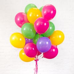 Букет из 20 шаров (Сиреневый, Зеленый, Желтый, Фуксия)