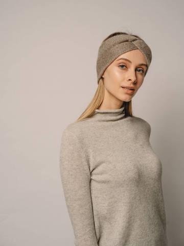Женская повязка на голову песочного цвета из кашемира - фото 5
