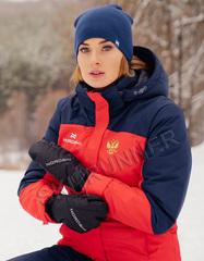 Премиальная теплая лыжная куртка Nordski Mount Red-Dark Blue женская