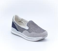 Серебряные кроссовки из искусственной кожи