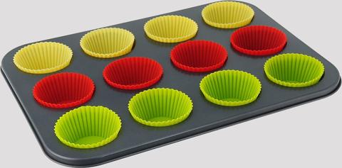 Форма для кексов и маффинов + силиконовые формы, ячейка 5х7х2.5см, оптом 5 шт.