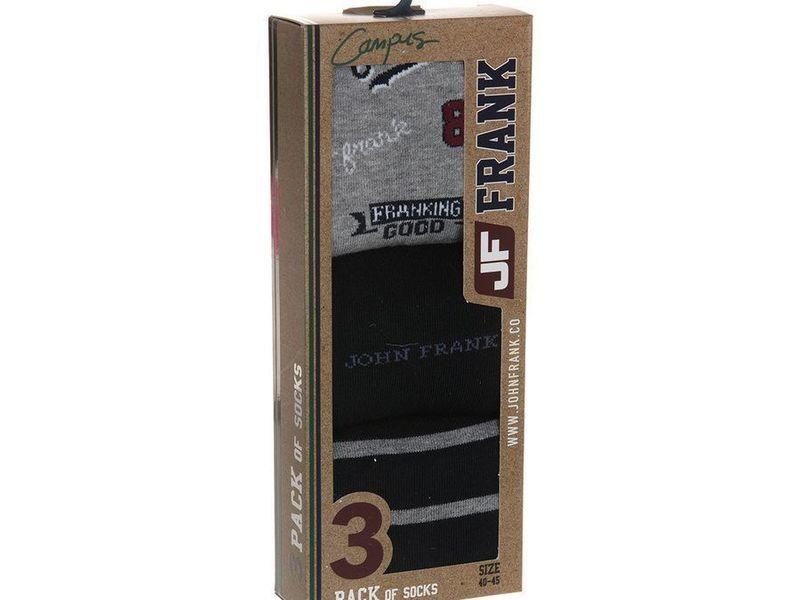 Носки мужские JOHN FRANK - комплект из 3 пар (черные, серые) с принтом