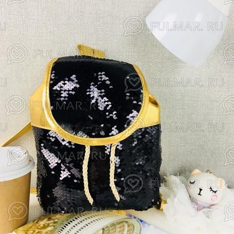 Рюкзак-мешок золотистый с пайетками меняет цвет Черный-Серебристый Мини