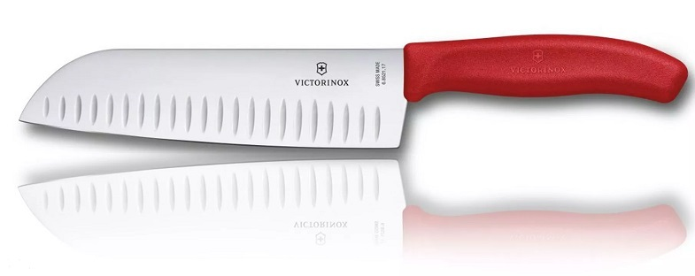 Кухонный нож Victorinox Santoku, лезвие 17 см., красная рукоять (6.8521.17G) - Wenger-Victorinox.Ru