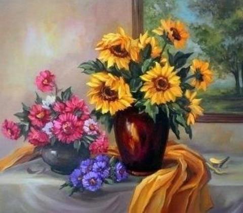 Картина раскраска по номерам 50x65 Три букета цветов