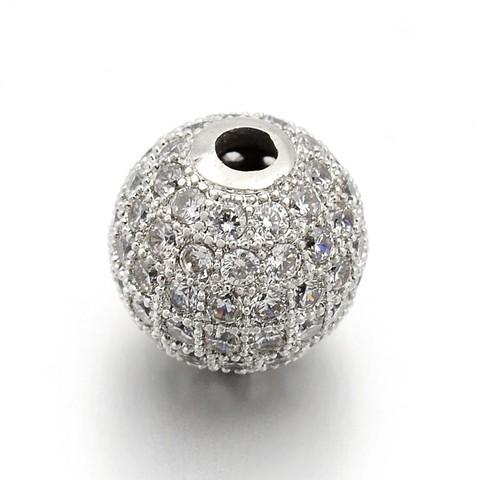 Бусина большой шар с цирконами 14 мм цвет платина