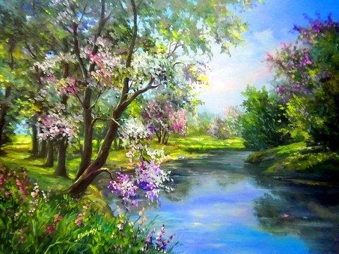 Картина раскраска по номерам 50x65 Сирень на берегу реки