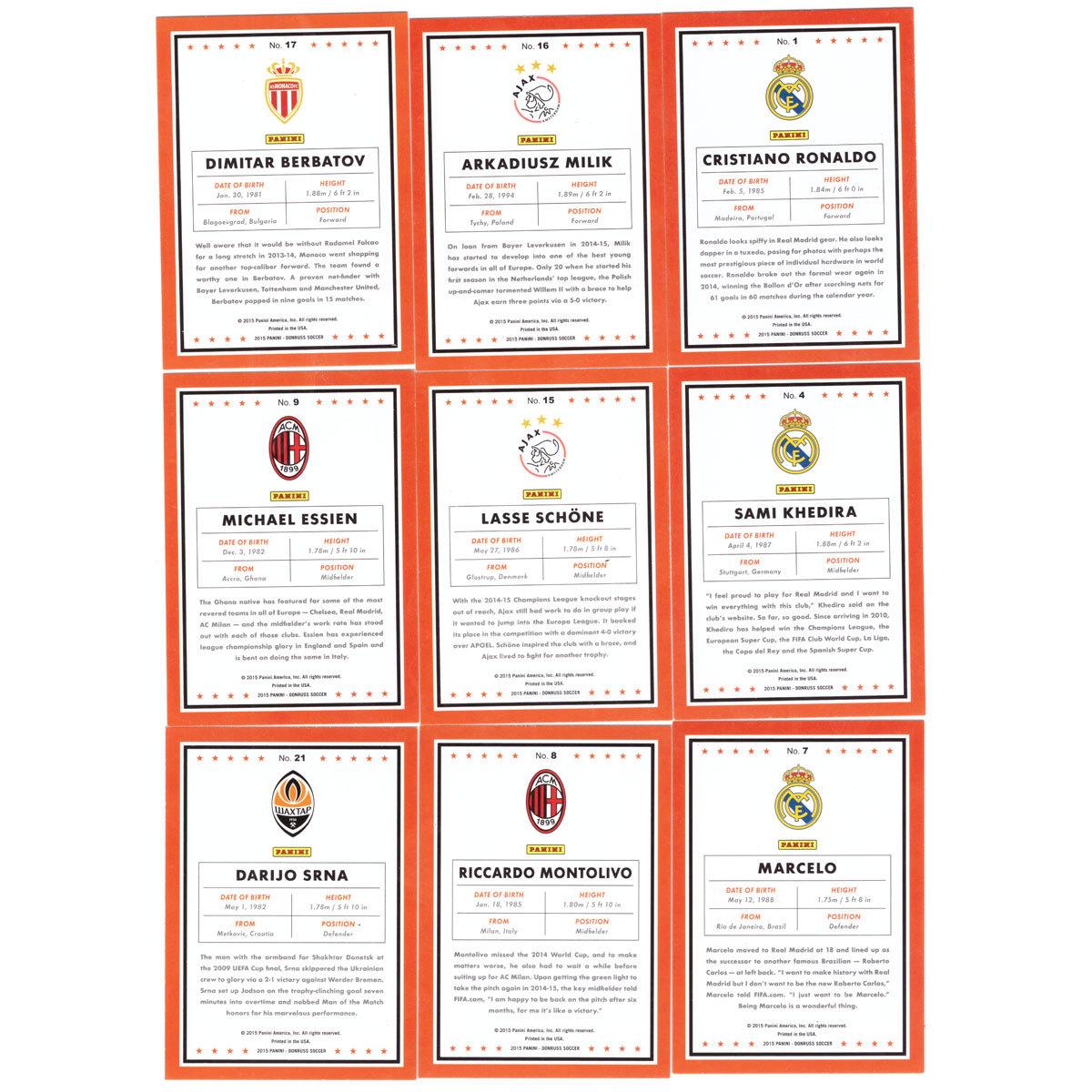 Спортивные карточки. Футбол. Полный базовый сет 100 шт. PANINI Donruss Soccer 2015.