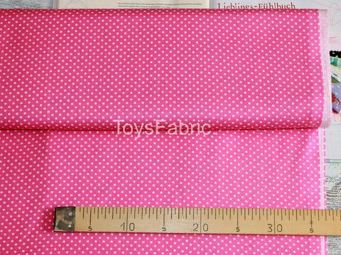 Ткань бязь Д21 Горох 3мм на ярко-розовом (75х50см)