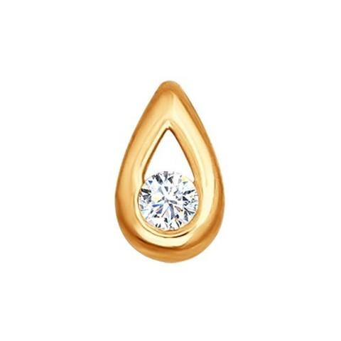 1030439- Подвеска в форме капли из золота с бриллиантом