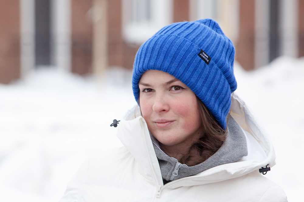 шапка вязаная цвет синий василек SASHA JUNIOR