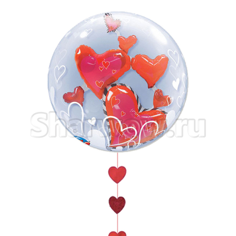 Прозрачный шар бабл с парящими сердцами внутри, 56 см