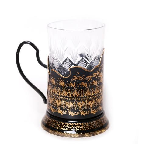 带艺术绘画的水晶玻璃杯+杯托, 黑色 PODS25102018D027