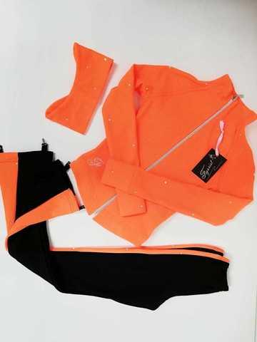 Термокомплект со стразами (оранжевый) XS+повязка, рост 122 см