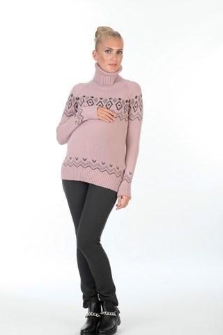 Свитер для беременных 00054 розовый-серый