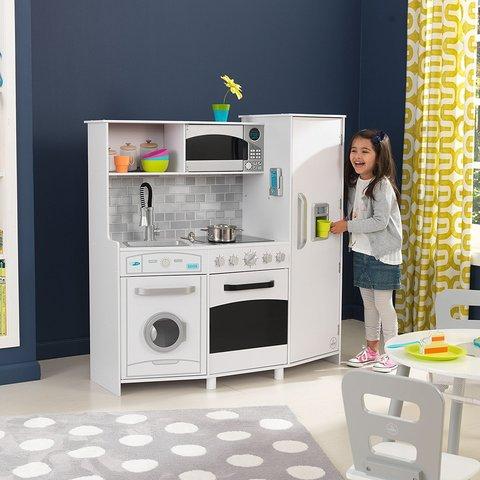 KidKraft: Игровая кухня Большой Интерактив, белая 53369 — Large Play Kitchen with Lights & Sounds - White — КидКрафт
