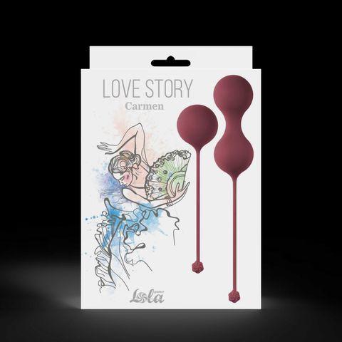 Набор бордовых вагинальных шариков Love Story Carmen