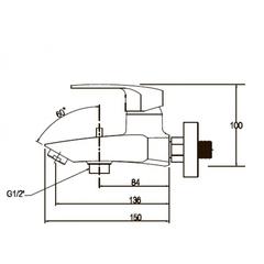 Комплект для ванной Kaiser Guss 6800К (68011+68022+стойка R1100) схема