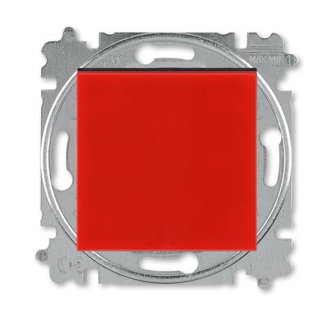 Выключатель одноклавишный. Цвет Красный / дымчатый чёрный. ABB. Levit(Левит). 2CHH590145A6065