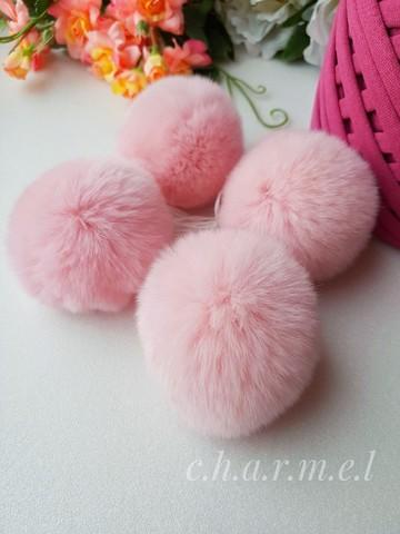 Помпоны, кролик 5-6 см, Розовый, 2 шт
