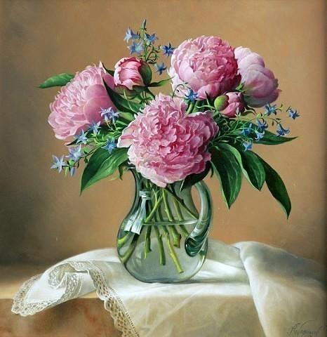 Картина раскраска по номерам 50x65 Букет пионов в прозрачной вазе