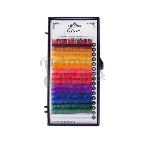 Ресницы цветные Glams палитра,отдельные длины 16 линий