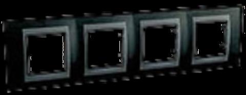 Рамка на 4 поста. Цвет Родий-графит. Schneider electric Unica Top. MGU66.008.293
