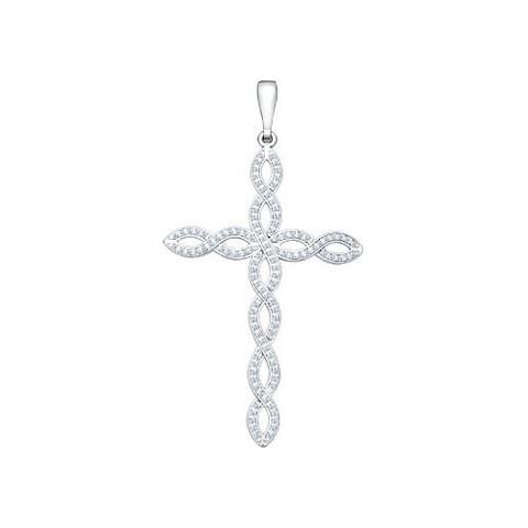 94030101- Крест ажурный из серебра с фианитами