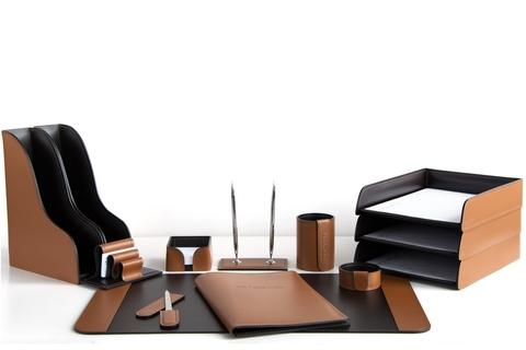 Набор на стол руководителя 13 предметов, кожа натуральная, цвет табак/шоколад №71