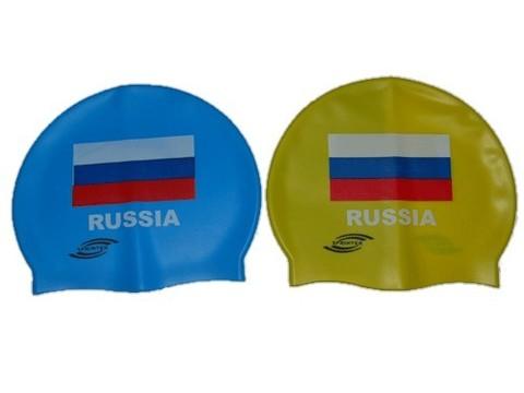 Шапочка для плавания SPRINTER. Классический дизайн с изображением флага Росии. Материал: высококачественный силикон. Полиэтиленовая сумочка на молнии