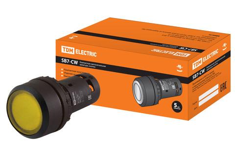 Кнопка с фиксацией SB7-CWL3565-220V(LED) d22мм 1з+1р желтая TDM