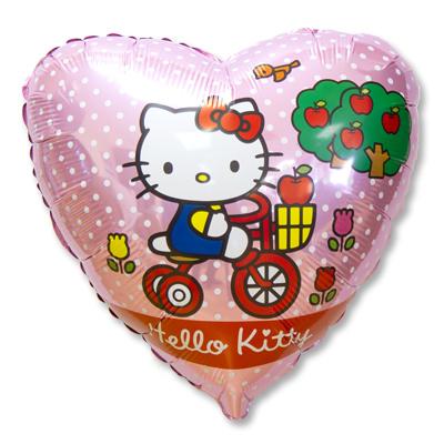 Шары Hello Kitty Фольгированный шар Hello Kitty на велосипеде Шар-46-см-Сердце-Hello-Kitty-на-велосипеде.jpg