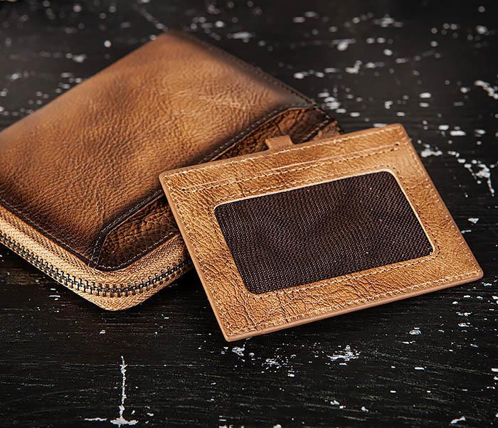 WL331-2 Мужское портмоне из натуральной коричневой кожи фото 04