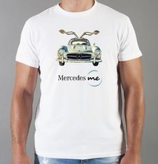 Футболка с принтом Mercedes-Benz (Мерседес-Бенц) белая 02