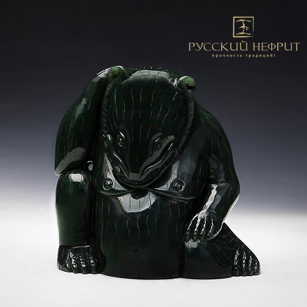 Резьба, статуэтки Китайский медведь. Зелёный нефрит. medved_chin_jade02.jpg