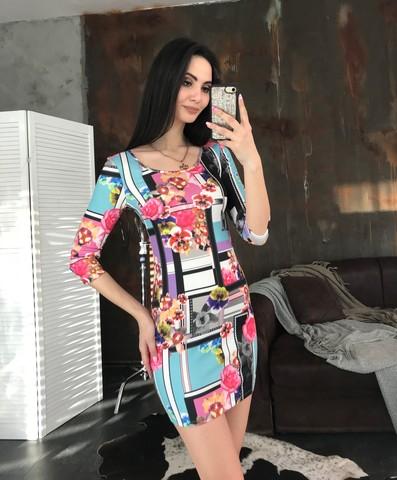 Гала. Молодежное облегающее платье мини. Абстракция принт