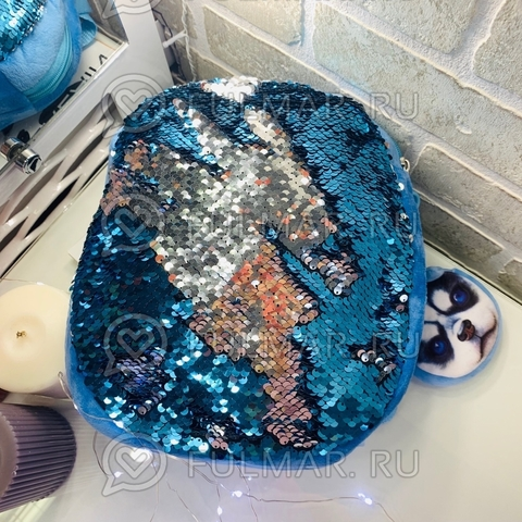Рюкзачок Детский плюшевый голубой с пайетками меняет цвет Голубой-Серебристый и брелок-ключница Пёся