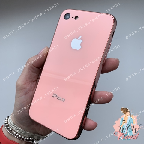 Чехол iPhone 7/8 Glass Case Logo /pink/