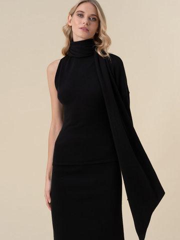 Женский джемпер черного цвета с открытым плечом и 100% кашемира - фото 3