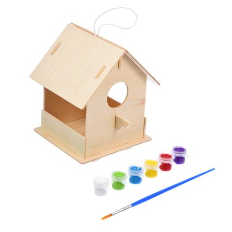 Кормушка для птиц сборная с красками и кисточкой, 12,5х12,5х16 см