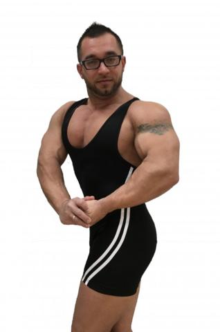 трико для пауэрлифтинга, тяжелой атлетики, борьбы модель master белые полоски