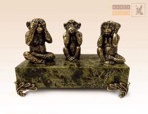 фигурка Три обезьяны на змеевике