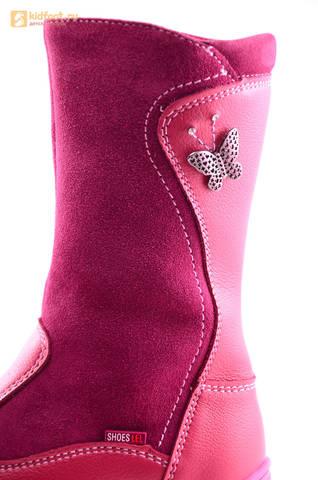 Сапоги для девочек из натуральной кожи на байковой подкладке Лель (LEL), цвет брусника. Изображение 12 из 16.