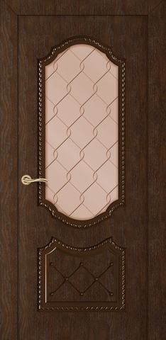 Дверь Румакс Экстра ДО, стекло сатинат бронза гравировка, цвет каштан, остекленная