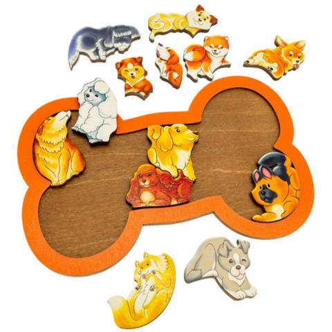 Деревянный пазл Зоопазл Собаки, Нескучные Игры, арт. 8069